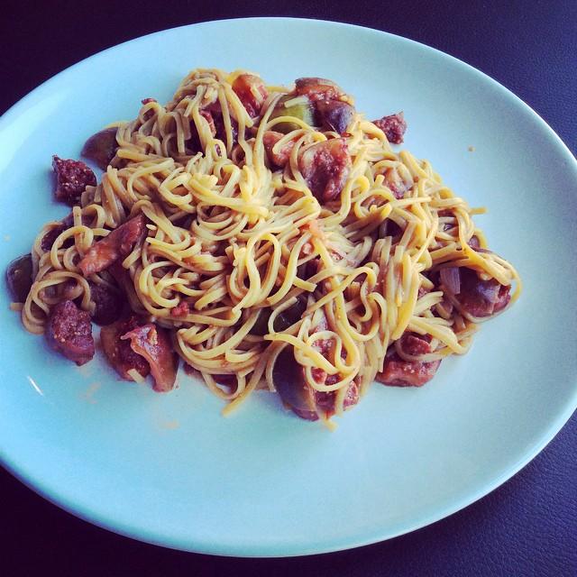 Makaron z figami i chorizo 4