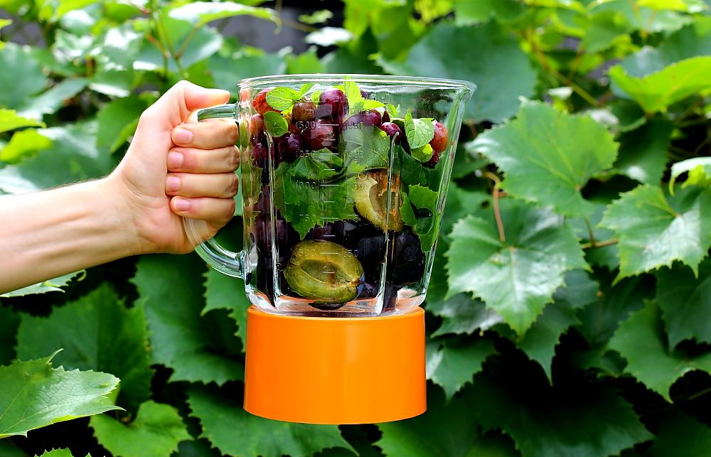Koktajl śliwkowy z liśćmi winogron