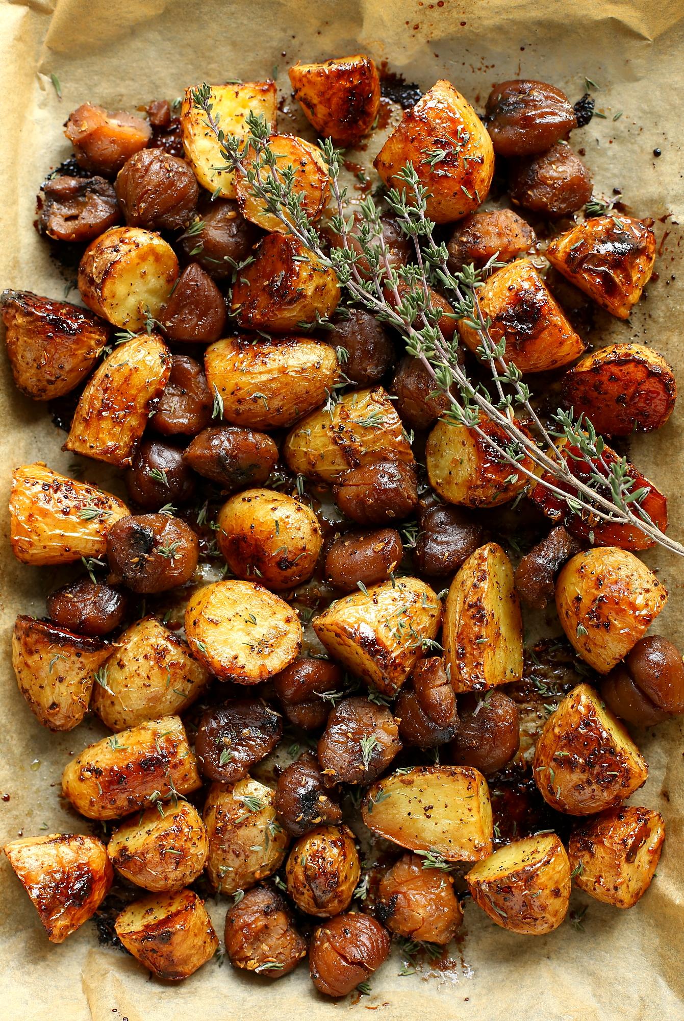 Ziemniaki z kasztanami pieczone w miodzie