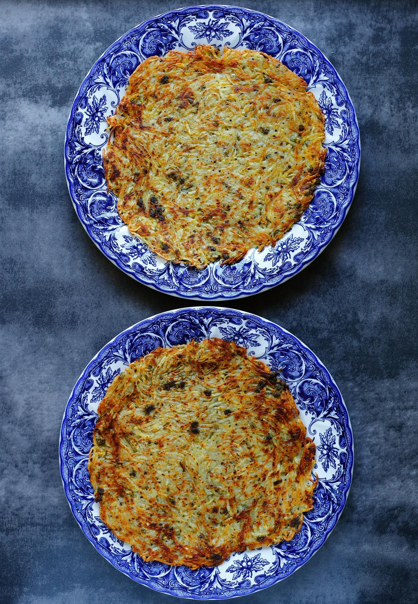 Naleśnik ziemniaczany z kurkami i jajkiem