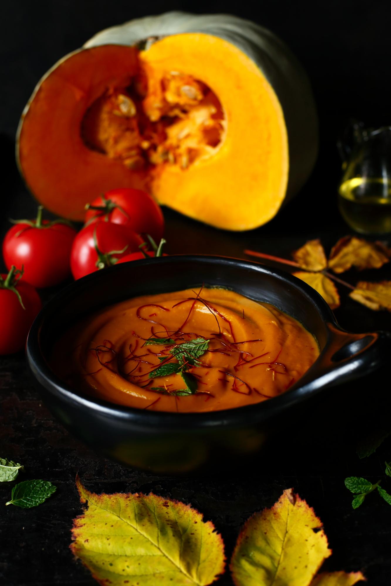 Krem z pieczonych pomidorów i dyni