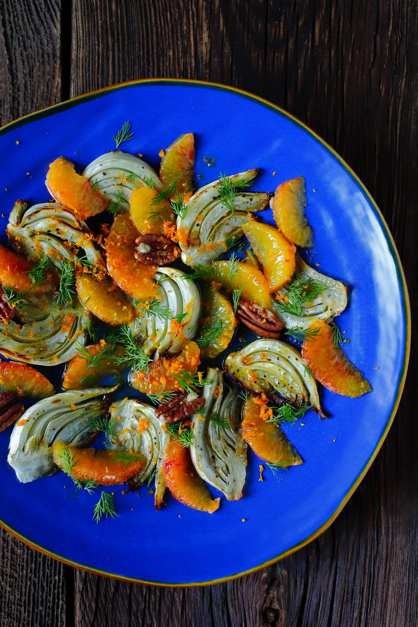 Pieczony fenkuł z pomarańczą